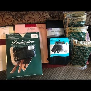 Lot of unworn pantyhose and tights.